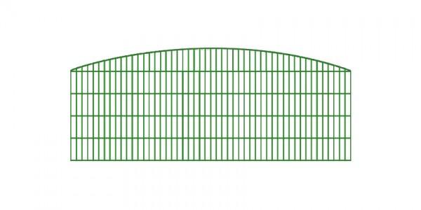 Doppelstabmatten-Schmuckzaun Rundbogen-Dekor Komplett-Set mit Abdeckleisten / Grün / 201 cm hoch / 100 m lang