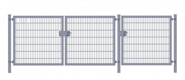 Premium Plus Einfahrtstor 8/6/8 (3-flügelig); Anthrazit Doppelstabmatte; Breite 450 cm x Höhe 100 cm