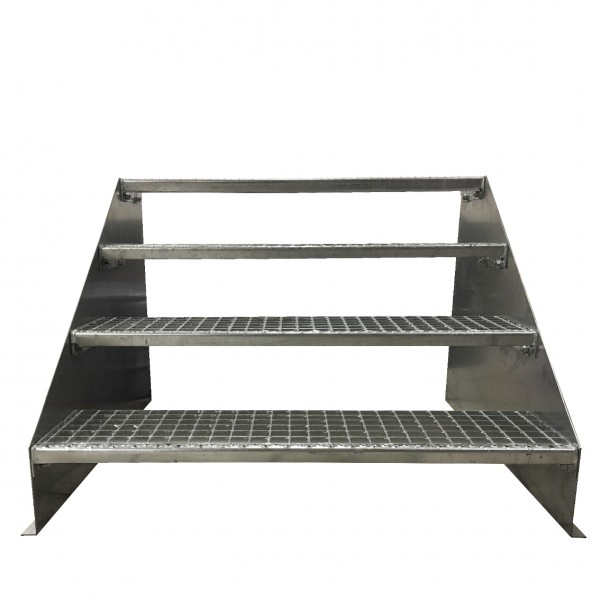 4-stufige Stahltreppe freistehend / Standtreppe / Breite 150 cm / Höhe 84 cm / Verzinkt