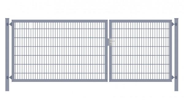 Einfahrtstor Classic Plus (2-flügelig) asymmetrisch; Anthrazit 6/5/6er Doppelstabmatte; Breite 275 cm x Höhe 100 cm