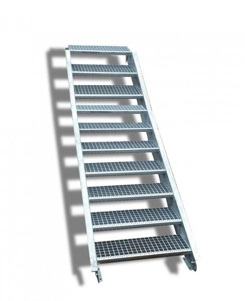10-stufige Stahltreppe / Breite: 130 cm / Wangentreppe / Gitterrosttreppe mit 10 Stufen