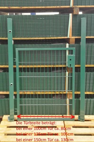 Gartentor / Zauntür Basic für Stabmattenzaun Moosgrün Breite (inkl. Pfosten) 150cm x Höhe 203cm