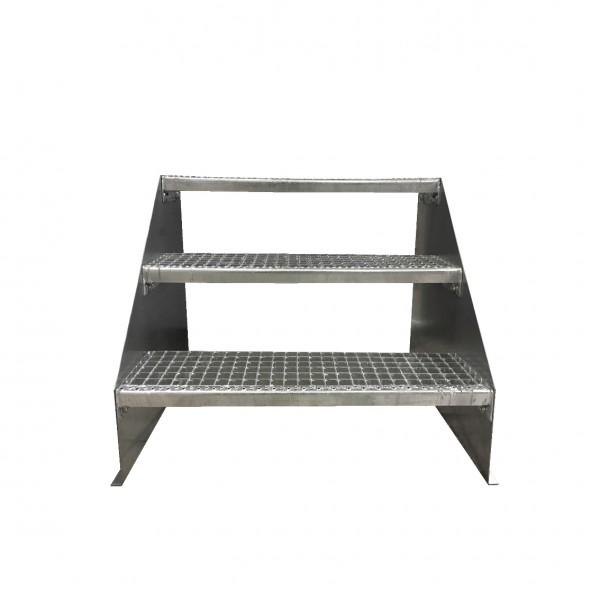 3-stufige Stahltreppe freistehend / Standtreppe / Breite 80 cm / Höhe 63 cm / Verzinkt