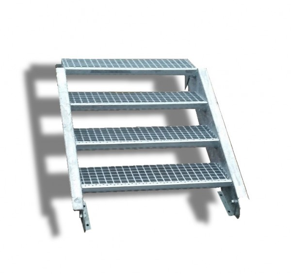 4-stufige Stahltreppe / Breite: 80 cm / Wangentreppe / Gitterrosttreppe mit 4 Stufen