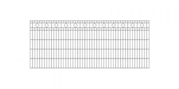 Doppelstabmatten-Schmuckzaun Diamant / Raute Komplett-Set mit Abdeckleisten / Verzinkt / 161cm hoch / 5m lang