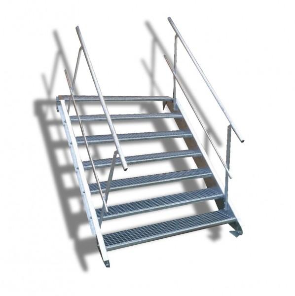 7-stufige Stahltreppe mit beidseitigem Geländer / Breite: 130 cm / Wangentreppe mit 7 Stufen