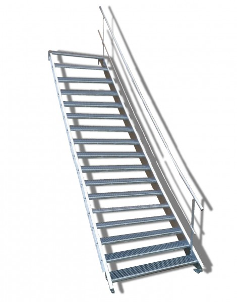 17-stufige Stahltreppe mit einseitigem Geländer / Breite: 150 cm / Wangentreppe mit 17 Stufen