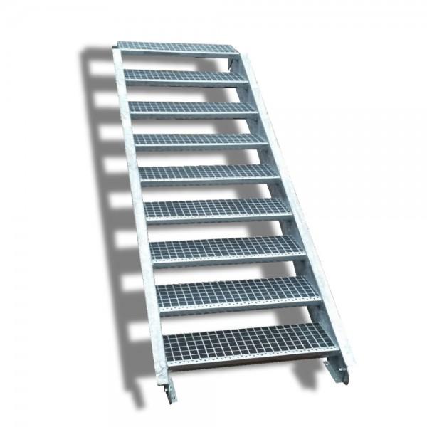 9-stufige Stahltreppe / Breite: 140 cm / Wangentreppe / Gitterrosttreppe mit 9 Stufen