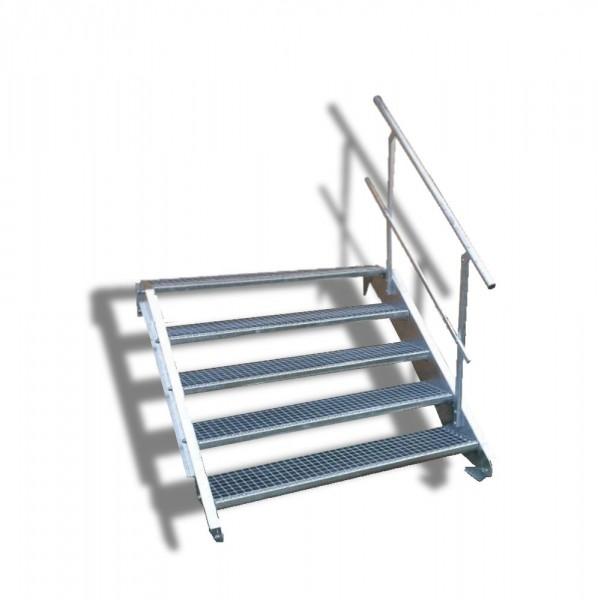 5-stufige Stahltreppe mit einseitigem Geländer / Breite: 130 cm / Wangentreppe mit 5 Stufen