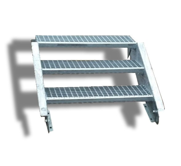3-stufige Stahltreppe / Breite: 130 cm / Wangentreppe / Gitterrosttreppe mit 3 Stufen