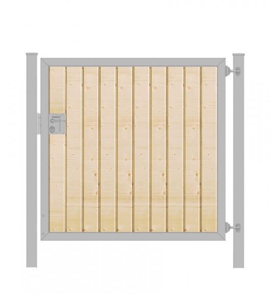 Gartentor / Zauntür Premium-Line mit Holzfüllung senkrecht Verzinkt Breite 100cm x Höhe 100cm