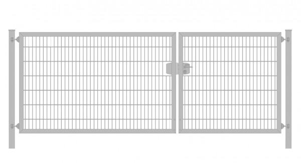 Einfahrtstor Premium Plus 6/5/6 (2-flügelig) asymmetrisch; Verzinkt Doppelstabmatte; Breite 350 cm x Höhe 160 cm