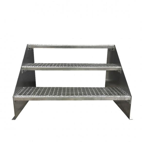 3-stufige Stahltreppe freistehend / Standtreppe / Breite 130 cm / Höhe 63 cm / Verzinkt