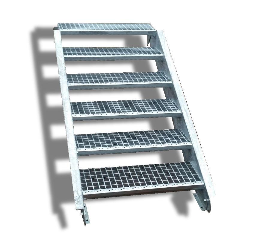 6 Stufen Stahltreppe mit einseitigem Gel/änder//Breite 150cm Geschossh/öhe 90-120cm Robuste Au/ßentreppe//Wangentreppe//Stabile Industrietreppe f/ür den Au/ßenbereich//Inklusive Zubeh/ör