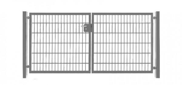 Einfahrtstor Basic (2-flügelig) symmetrisch ; Verzinkt Doppelstabmatte; Breite 250 cm x Höhe 203cm