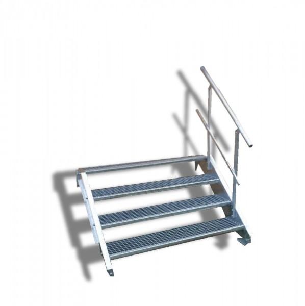 4-stufige Stahltreppe mit einseitigem Geländer / Breite: 130 cm / Wangentreppe mit 4 Stufen