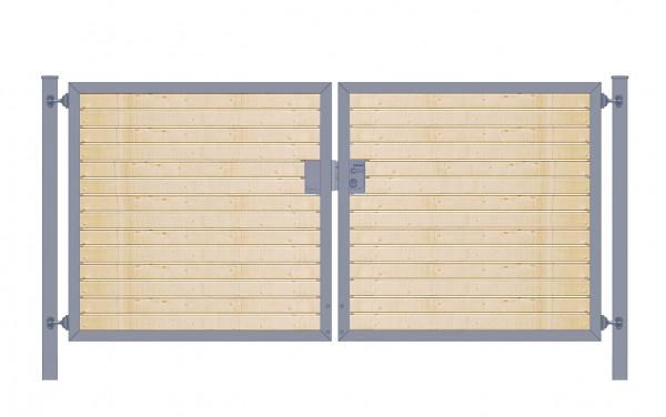Einfahrtstor Premium (2-flügelig) mit Holzfüllung waagerecht; symmetrisch; anthrazit; B:200 cm H:100 cm