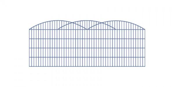 Doppelstab-Schmuckzaun 3-er Bogen Komplett-Set / Anthrazit / 141cm hoch / 5m lang