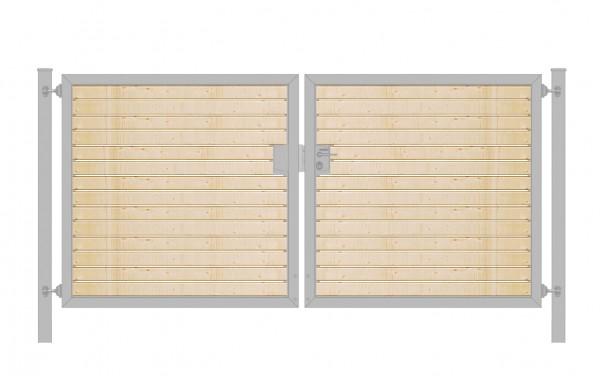 Einfahrtstor Premium (2-flügelig) mit Holzfüllung waagerecht; symmetrisch; verzinkt; B:200 cm H:120 cm