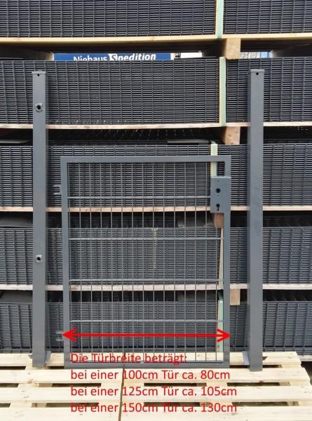 Gartentor / Zauntür Basic für Stabmattenzaun Anthrazit Breite (inkl. Pfosten) 125cm x Höhe 143cm