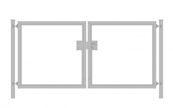 Einfahrtstor Premium (2-flügelig) symmetrisch für senkrechte Holzfüllung; Verzinkt; Breite 200 cm x Höhe 100cm