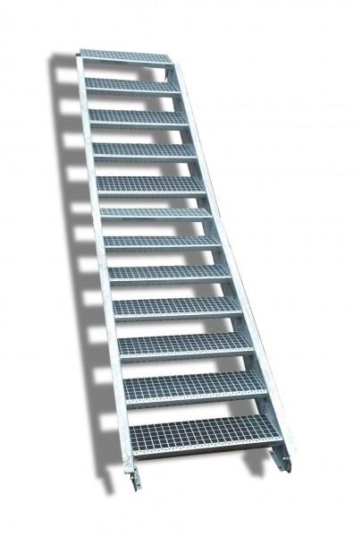 12-stufige Stahltreppe / Breite: 140 cm / Wangentreppe / Gitterrosttreppe mit 12 Stufen