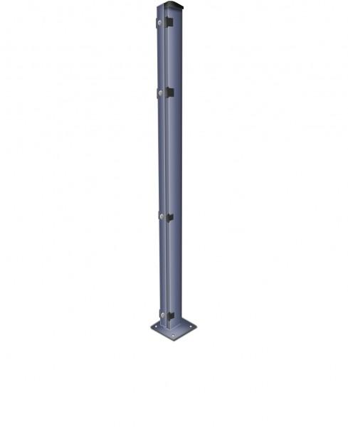 Zaunpfosten mit Fußplatte / zum Aufdübeln mit Abdeckleisten Anthrazit für Zaunfelder Höhe 83 cm