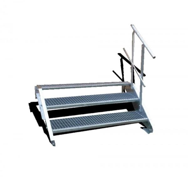 3-stufige Stahltreppe mit einseitigem Geländer / Breite: 140 cm / Wangentreppe mit 3 Stufen