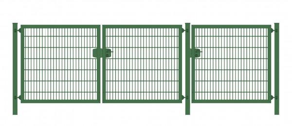 Premium Plus Einfahrtstor 6/5/6 (3-flügelig); Grün Doppelstabmatte; Breite 625 cm (2,5m/ 2,5m/ 1,25m) x Höhe 180 cm