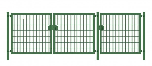 Premium Plus Einfahrtstor 6/5/6 (3-flügelig); Grün Doppelstabmatte; Breite 300 cm (1m/ 1m/ 1m) x Höhe 100 cm