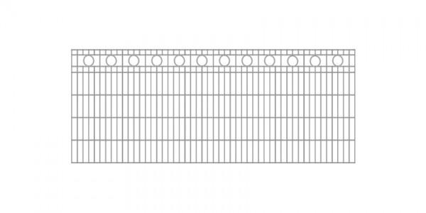 Schmuckzaun / Doppelstabmattenzaun Kreis-Dekor Komplett-Set mit Abdeckleisten / Verzinkt / 101cm hoch / 5m lang