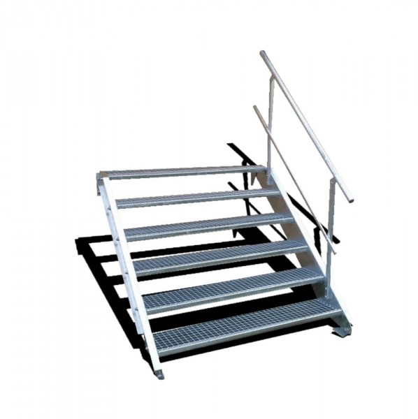 6-stufige Stahltreppe mit einseitigem Geländer / Breite: 150 cm / Wangentreppe mit 6 Stufen