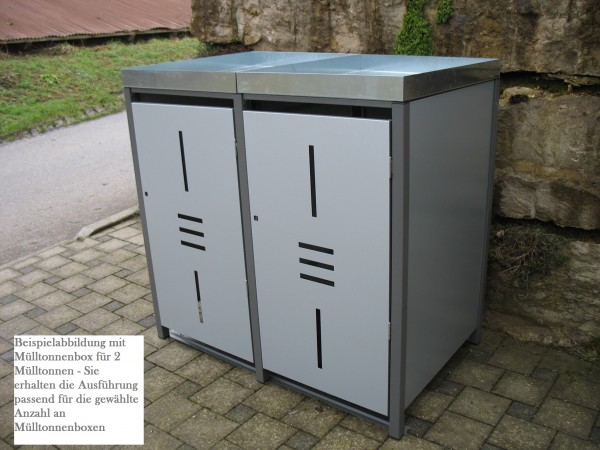 Premium Metall Mülltonnenbox Hellgraumetallic (ähnl. RAL 9006) für 2 240l Mülltonnen (Größe XL)