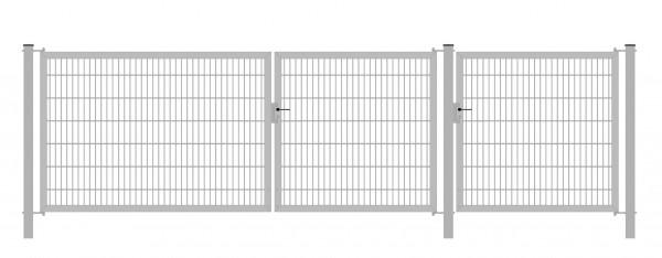 Gartentor Classic Strong (3-flügelig) asymmetrisch (1|2|1); Verzinkt 6/6/6 mm Doppelstabmatte; Gesamtbreite 400 cm Höhe 80 cm