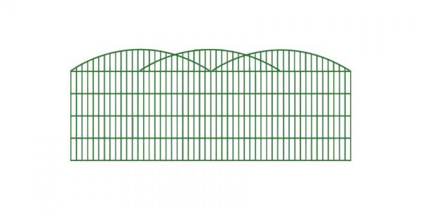 Doppelstab-Schmuckzaun 3-er Bogen Komplett-Set / Grün / 101cm hoch / 5m lang