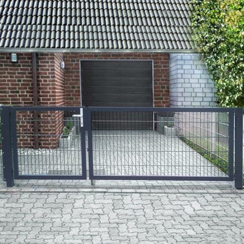 einfahrtstor 2 fl gelig asymmetrisch anthrazit ral 7016 doppelstabmatte breite 450cm h he. Black Bedroom Furniture Sets. Home Design Ideas