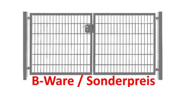 Einfahrtstor Basic (2-flügelig) symmetrisch ; Verzinkt Doppelstabmatte; Breite 300 cm x Höhe 123cm