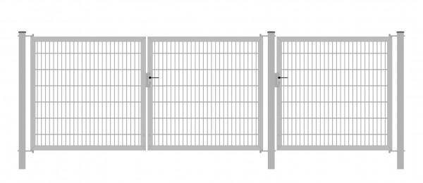 Gartentor Classic Strong (3-flügelig) symmetrisch (1,25|1,25|1,25); Verzinkt 6/6/6 mm Doppelstabmatte; Gesamtbreite 375 cm Höhe 120 cm