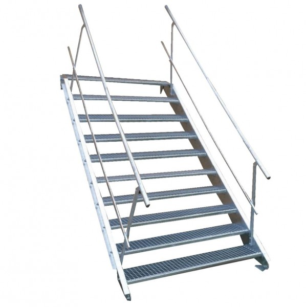 10-stufige Stahltreppe mit beidseitigem Geländer / Breite: 140 cm / Wangentreppe mit 10 Stufen