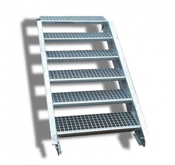 6-stufige Stahltreppe / Breite: 150 cm / Wangentreppe / Gitterrosttreppe mit 6 Stufen