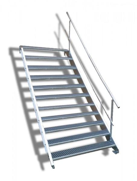 11-stufige Stahltreppe mit einseitigem Geländer / Breite: 140 cm / Wangentreppe mit 11 Stufen