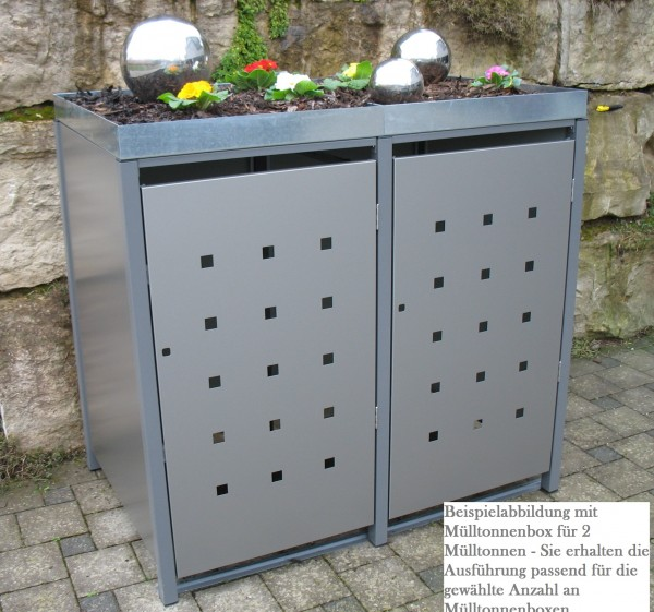 Premium Metall Mülltonnenbox Dunkelgraumetallic (ähnl. RAL 9007) für 2 120l Mülltonnen (Größe S)