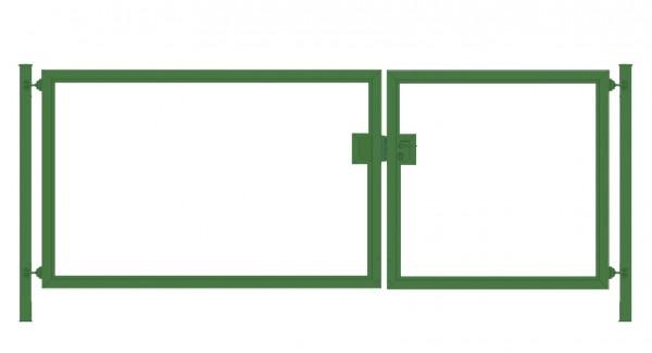 Einfahrtstor Premium (2-flügelig) asymmetrisch für senkrechte Holzfüllung; Moosgrün RAL 6005; Breite 250 cm x Höhe 100cm