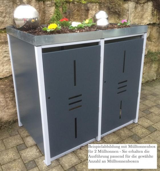 Premium Metall Mülltonnenbox Anthrazit (RAL 7016) für 2 240l Mülltonnen (Größe L)