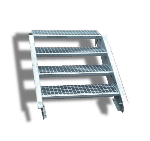 4-stufige Stahltreppe / Breite: 140 cm / Wangentreppe / Gitterrosttreppe mit 4 Stufen