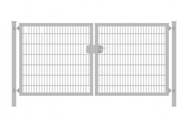 Einfahrtstor Classic 6/5/6 (2-flügelig) symmetrisch; Verzinkt Doppelstabmatte; Breite 350 cm x Höhe 200 cm