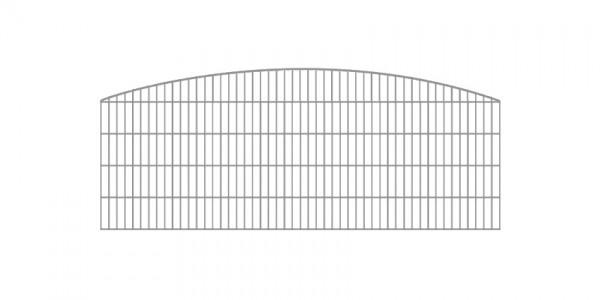 Doppelstabmatten-Schmuckzaun Rundbogen-Dekor Komplett-Set mit Abdeckleisten / Verzinkt / 101 cm hoch / 5 m lang