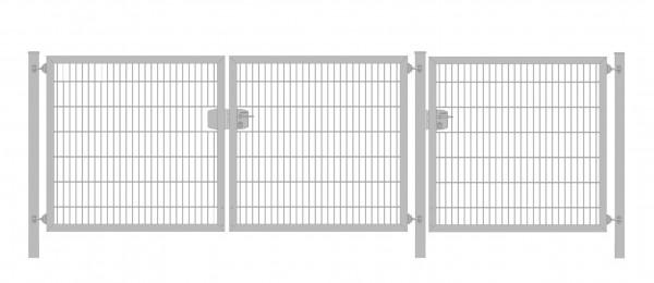 Premium Plus Einfahrtstor 6/5/6 (3-flügelig); Verzinkt Doppelstabmatte; Breite 350 cm (1,25m/ 1,25m/ 1m) x Höhe 100 cm
