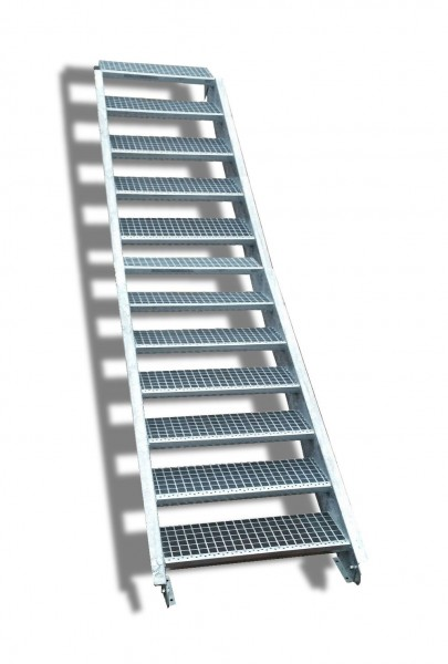 12-stufige Stahltreppe / Breite: 150 cm / Wangentreppe / Gitterrosttreppe mit 12 Stufen