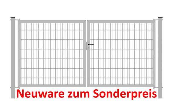 Gartentor Classic Strong (2-flügelig) symmetrisch; Verzinkt 6/6/6 mm Doppelstabmatte; Breite 200 cm Höhe 80 cm